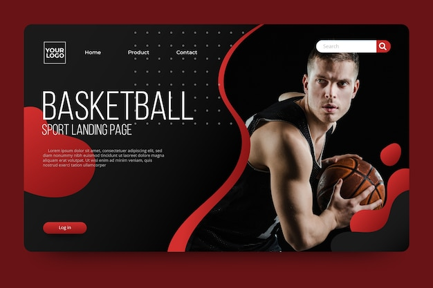 Sport landing page with photo with basketball player