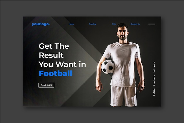 Sport landing page with photo with football player