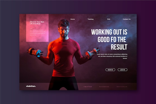 Sport landing page with photo with man working out