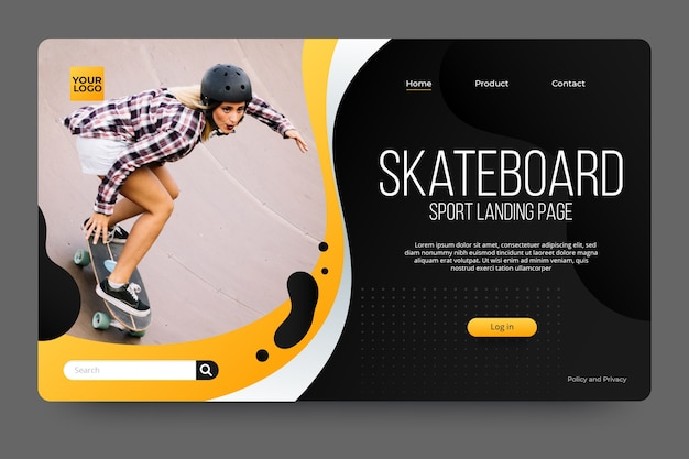Sport landing page with photo with skateboarder