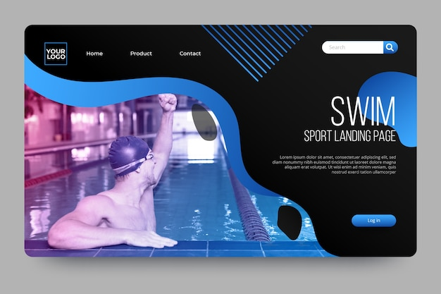 Sport landing page with photo with swimmer