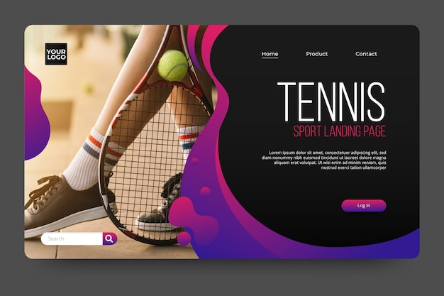 Sport landing page with photo with tennis player