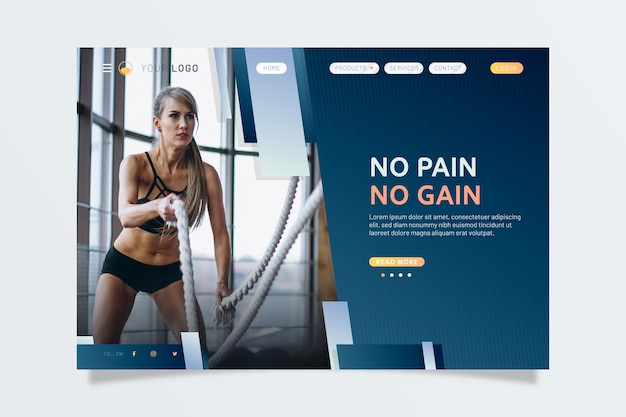 Sport landing page with photo of woman working out