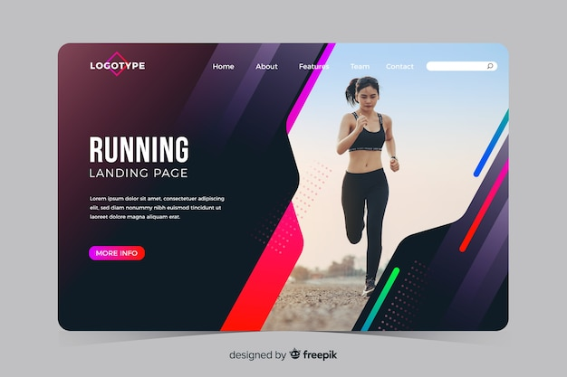 Sport landing page with photo