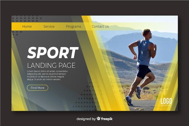 Sport landing page with photograph