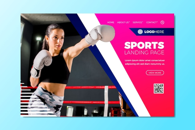 Sport landing page with pic template