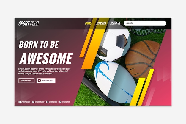 Sport landing page with pic