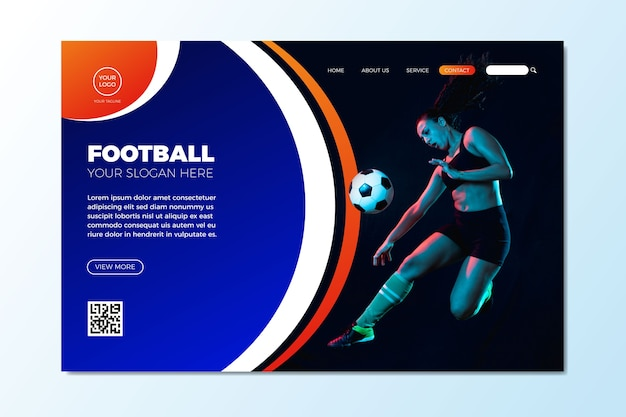 Sport landing page with picture template