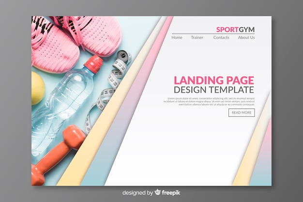 Sport landing page with picture