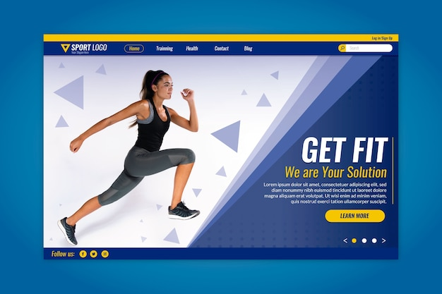 Sport landing page with runner