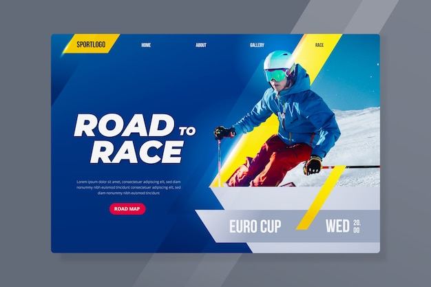 Sport landing page with skiing