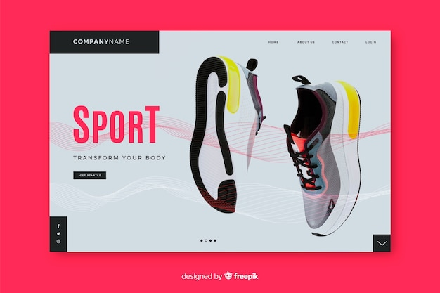 Sport landing page with sneakers