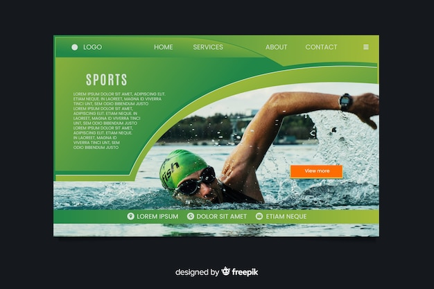 Sport landing page with swimmer