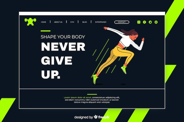 Sport landing page with woman running