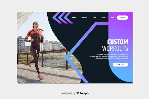 Sport landing page with workouts