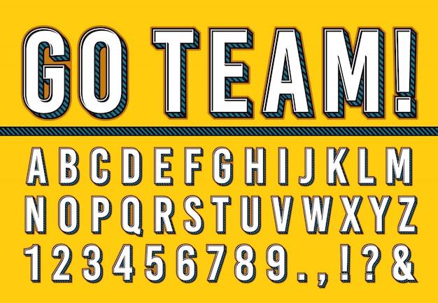Спортивные буквы шрифта. колледж спортивной команды типографии надписи, спортивные шрифты алфавит и номера кампуса 3d векторная иллюстрация набор