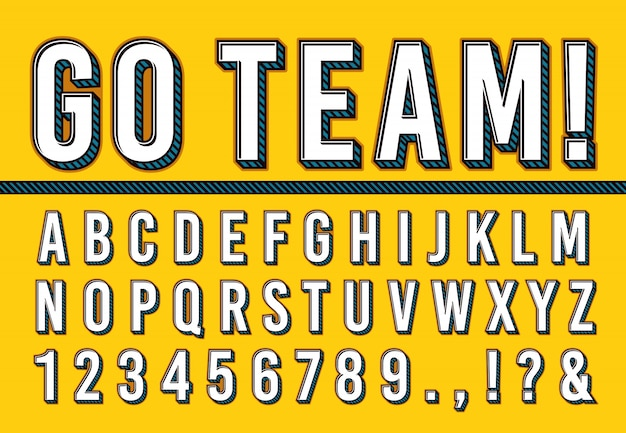 Sport letters font. college sports team typography lettering, sporting fonts alphabet and campus numbers 3d vector illustration set