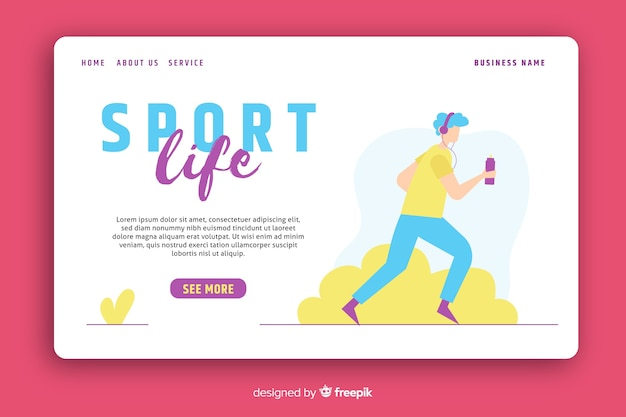 Sport life landing page template