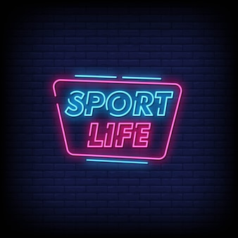 Sport life neon signs style text
