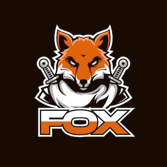 Sport logo design illustration of a fox carrying a sword. perfect for sports logos, games, t-shirt designs.