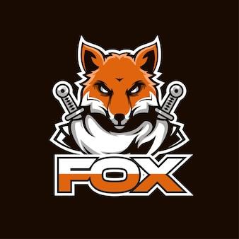 Спортивная иллюстрация дизайна логотипа лисы с мечом. идеально подходит для спортивных логотипов, игр, футболок.