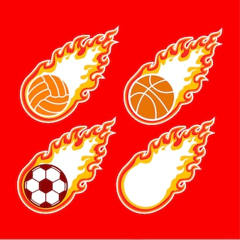 Sport logo flame ball