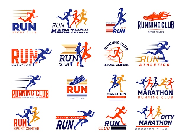 Sport logo. healthy running marathon athletes sprinting badges, runner fitness club, marathon sportsman