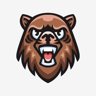 クマのスポーツロゴマスコットイラスト