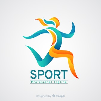 Sport logo template with abstract shapes