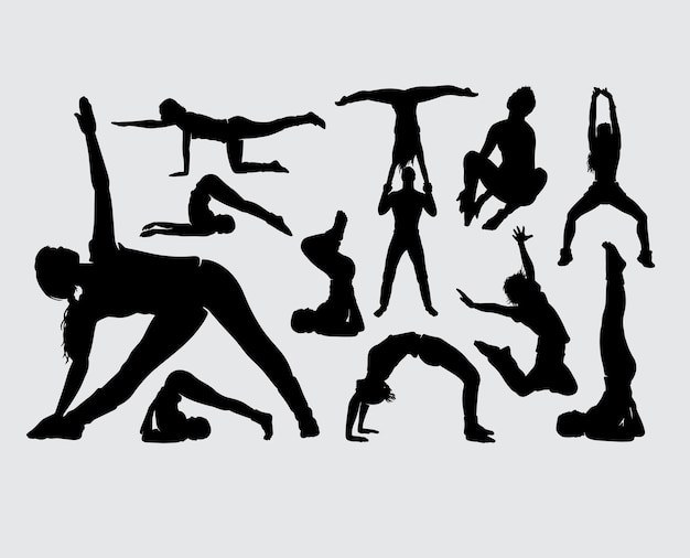Sport male and female gesture silhouette