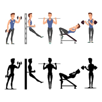 Sport man characters. vector male fitness silhouettes