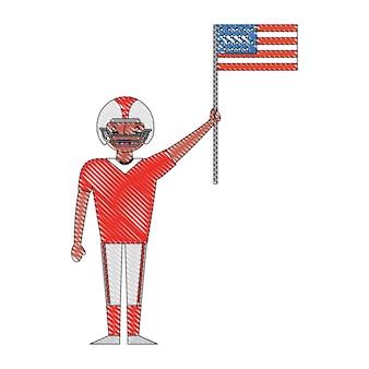スポーツマンプレーヤーアメリカンフットボール