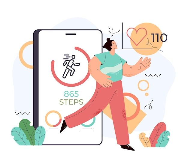 Спортивный человек, использующий телефон для подсчета шагов