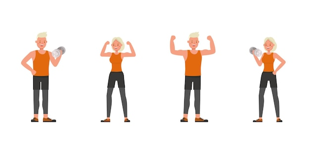 Sport man and woman character vector design. presentation in various action. no4
