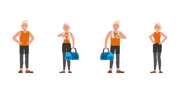 Sport man and woman character vector design. presentation in various action. no7