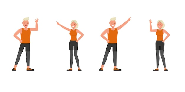 Sport man and woman character vector design. presentation in various action. no8