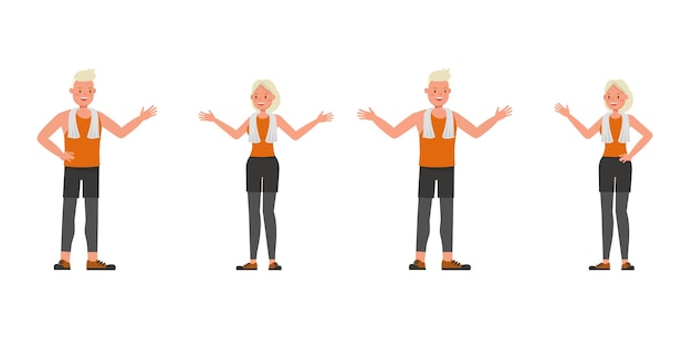 Sport man and woman character vector design. presentation in various action. no9