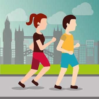 Sport man and woman runner
