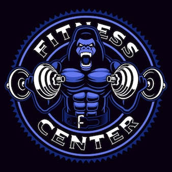 Sport mascot of a gorilla bodybuilder with dumbbells on the dark background.