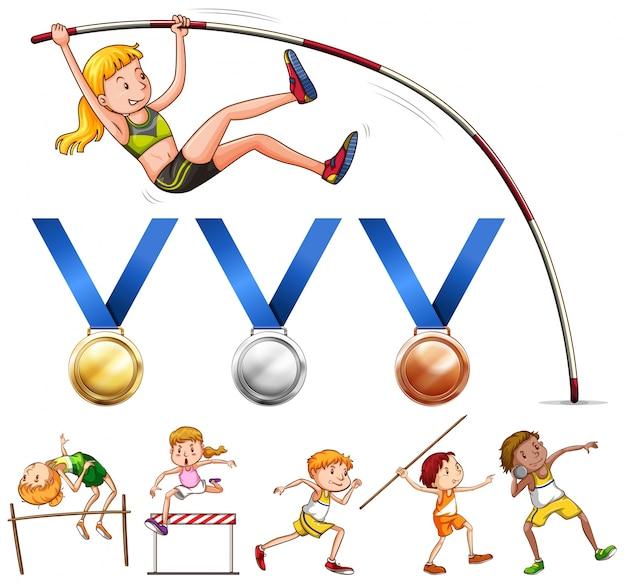 Спортивные медали и различные виды легкой атлетики