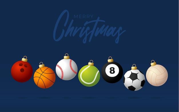 スポーツメリークリスマス横バナー。スポーツ野球、バスケットボール、サッカー、テニスボールのクリスマスカードは、青いモダンな背景にジャンプします。ベクトルイラスト。あなたのテキストのための場所