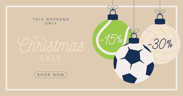 Sport merry christmas sale horizontal banner.