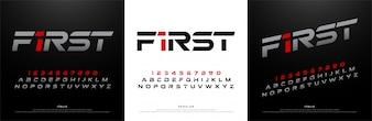 Sport modern alphabet fonts. technology typography