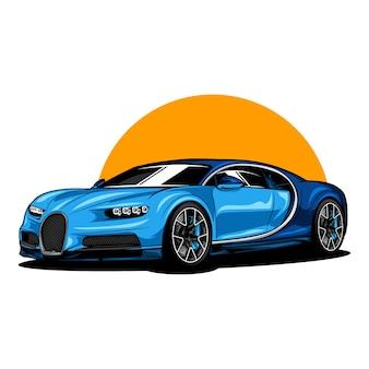 Sport modern car illustration on solid color