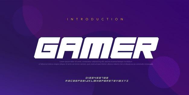 스포츠 현대 미래 굵게, 기울임 꼴 알파벳 글꼴. 타이포그래피 디지털 스타일 글꼴
