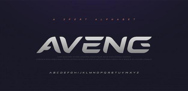 스포츠 현대 미래 기울임 꼴 알파벳 글꼴입니다. 기술, 디지털, 영화 로고 이탤릭체 스타일을위한 타이포그래피 도시 스타일 글꼴.