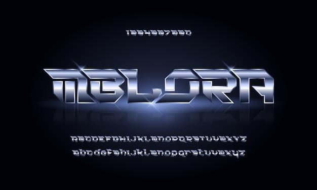 スポーツモダンな未来的なアルファベットのフォントです。テクノロジー、デジタル、映画のロゴデザインのためのタイポグラフィアーバンスタイルフォント