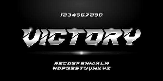 スポーツモダンで未来的なアルファベットフォント。テクノロジー、デジタル、映画のロゴデザインのためのタイポグラフィアーバンスタイルフォント