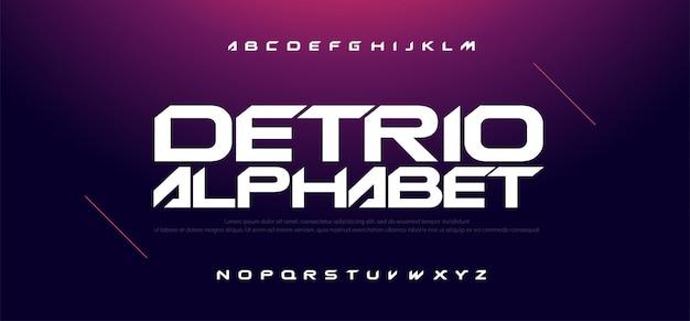 스포츠 현대 기술 알파벳 및 숫자 글꼴