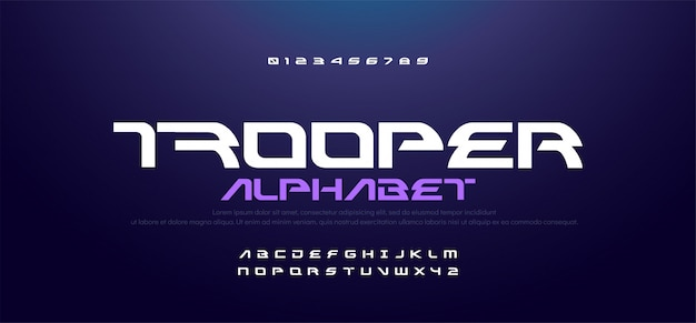 Sport modern technology alphabet and number fonts